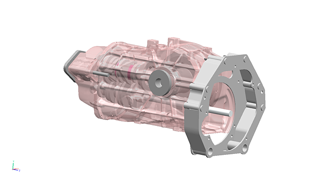 An assembly model of the gearbox casing and bell housing.